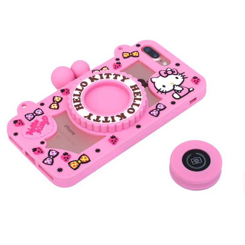 Hello Kitty Camera Bluetooth Self Timer 3D Silicone Shockproof Case Cover with Carrying Strap for Apple iPhone 7 Plus