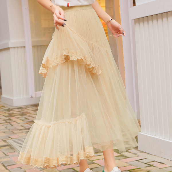 Summer New Style Long Gauze Ruffles Irregular Lace Stitching Skirt