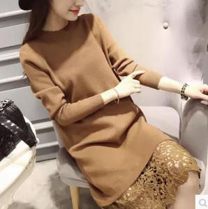 秋冬毛衣新款套头时尚下摆蕾丝拼接中长款打底针织衫连衣裙女AB01