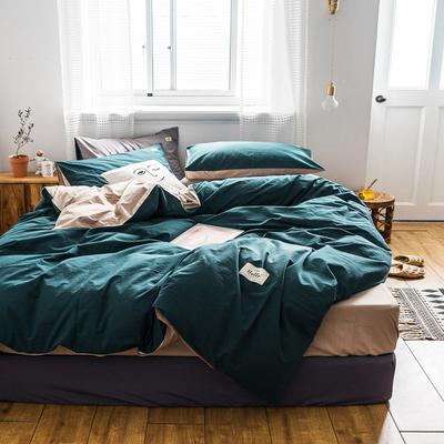 水洗棉四件套全棉纯棉简约北欧风素色裸睡被套床单床笠床上用品