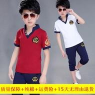 Cậu bé ngắn tay áo phù hợp với bông sinh viên hai mảnh phù hợp với 2 mùa hè mới V-cổ 4 trẻ em 5 đẹp trai cậu bé 3-12 tuổi