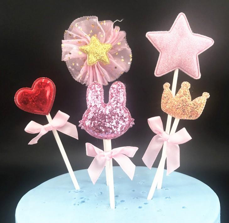 Trang trí bánh sinh nhật trang trí màu hồng long lanh dễ thương thỏ cắm thẻ tiệc nướng trang phục lên - Trang trí nội thất