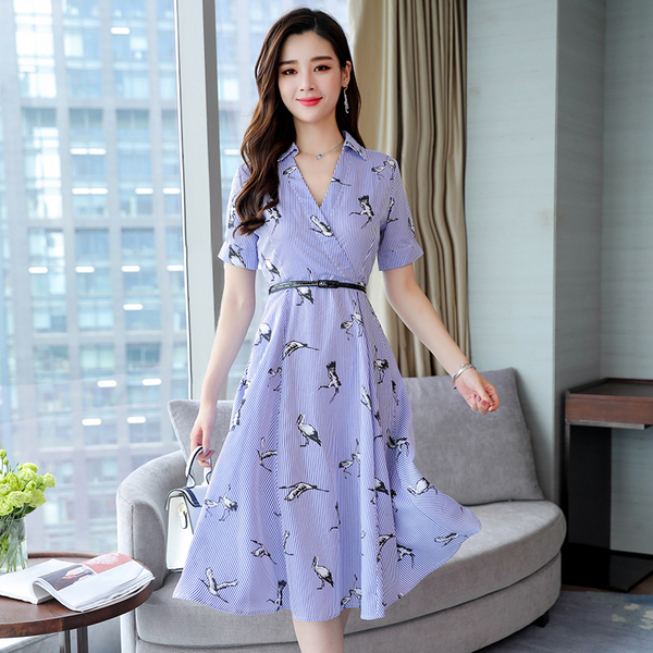 New Crane Stripes Tube High Waist Big Swing Dress