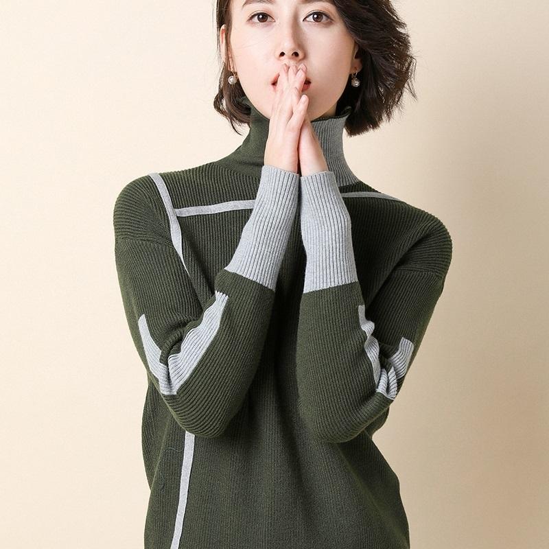 秋冬高领女套头短款修身韩版大码长袖针织打底衫毛衣