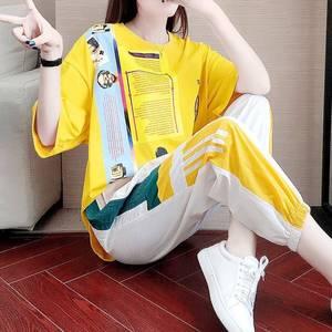 单件/套装 运动休闲女夏2021新款潮牌宽松显瘦韩版裤子短袖两件套