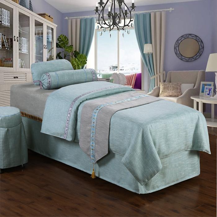 Cao cấp linen vẻ đẹp trải giường bốn bộ massage giường bìa vẻ đẹp duy nhất giường bìa màu xám vật lý trị liệu giường bìa có thể được tùy chỉnh