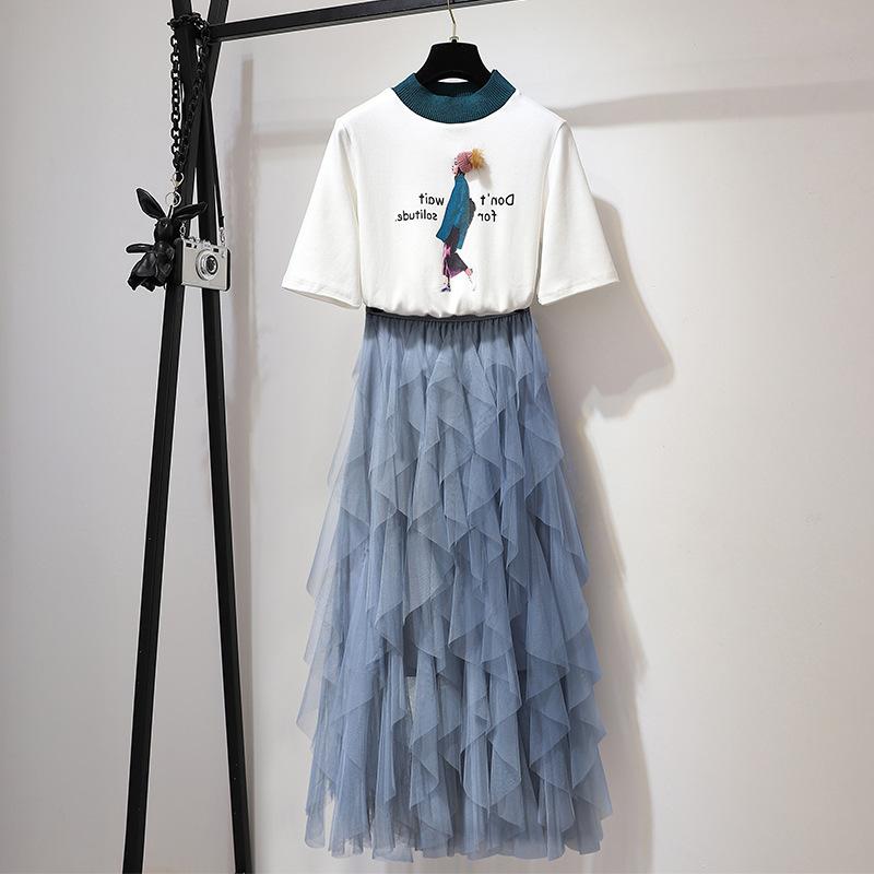 很仙的套装春装2019年新款港味女神时尚纯棉T恤洋气网纱裙两件套