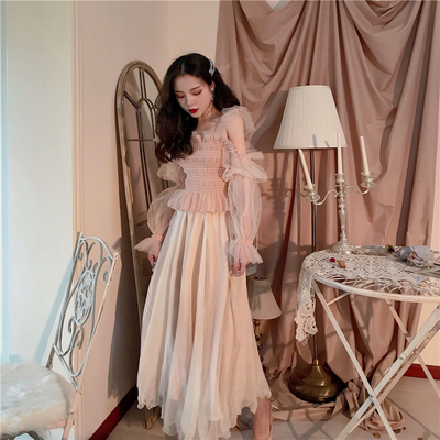 Fairy sweet temperament bow tie mesh off-the-shoulder shirt + lace big swing high waist skirt suit women