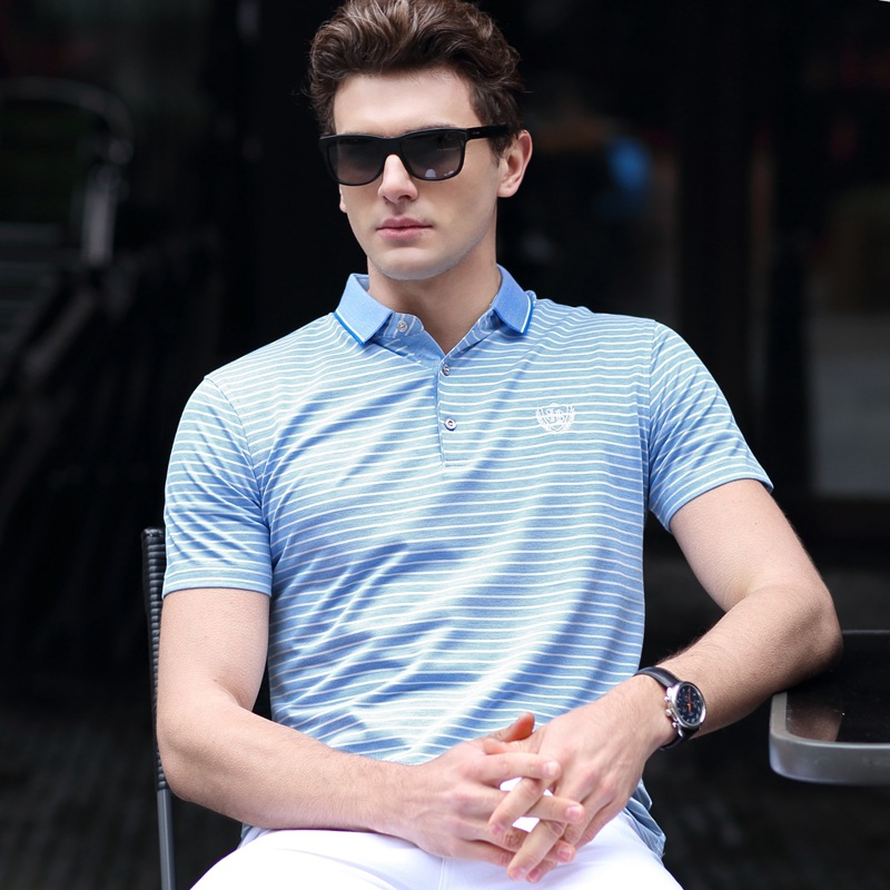 派森龙珠地棉色织条纹短袖t恤优惠券300元淘宝店铺包邮