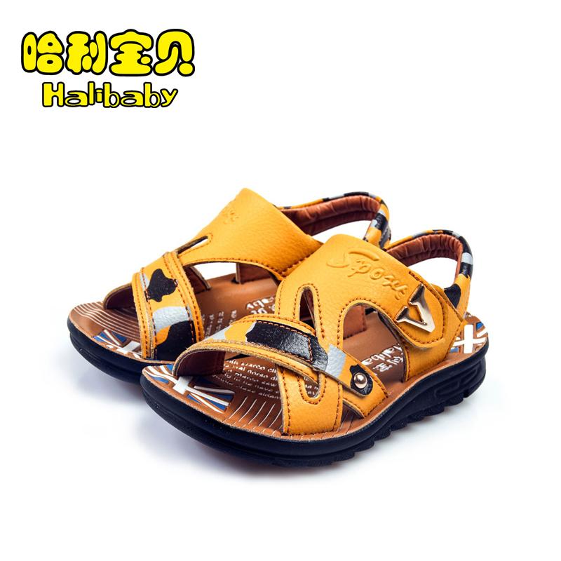 哈利宝贝 儿童夏季皮凉鞋中大童凉鞋男童 露趾软底超轻儿童沙滩鞋