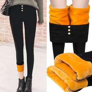 女裤子黑色加绒加厚2019冬季修身弹力学生裤铅笔裤黑外穿
