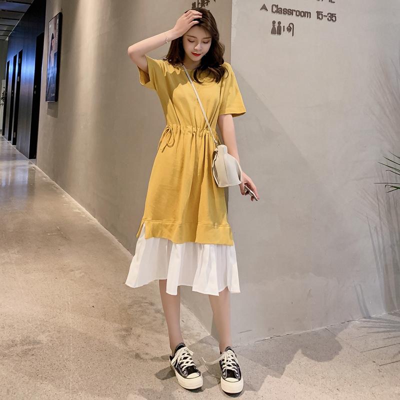 2019新款韩版夏季系带拼接假两件宽松中长款过膝收腰t恤连衣裙女
