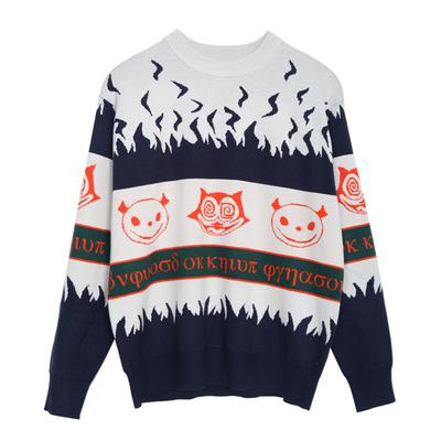 Quần áo nam Ma Kết Hàn Quốc Dongdaemun Devil phim hoạt hình áo len jacquard nam cá tính xu hướng màu áo len thủy triều - Áo len