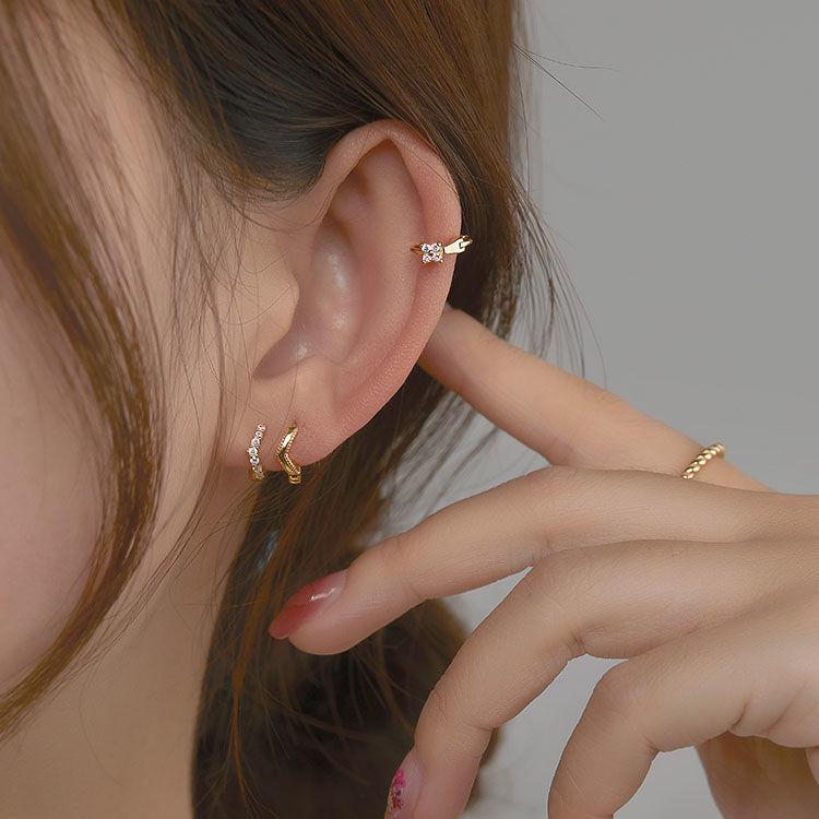 银饰18k耳扣纯银耳骨钉女高级感耳圈气质韩国耳骨环耳环耳饰防敏