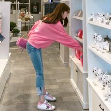 现货2018年秋装新款韩版学院风学生休闲宽松印花上衣长袖卫衣女潮