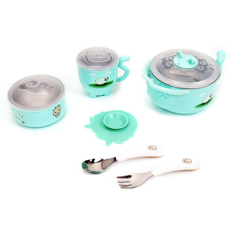 儿童注水不锈钢保温碗带盖耐摔孩宝吸盘碗杯勺可爱套装婴幼辅食盒