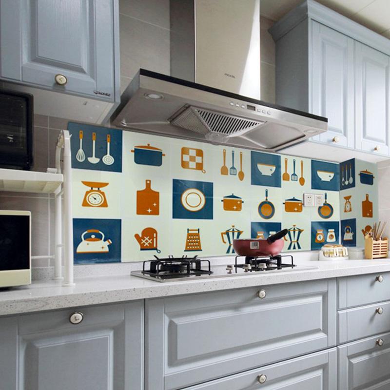 自粘耐高温防油贴纸灶台瓷砖墙贴厨房防水墙纸防油纸油烟贴 3片装