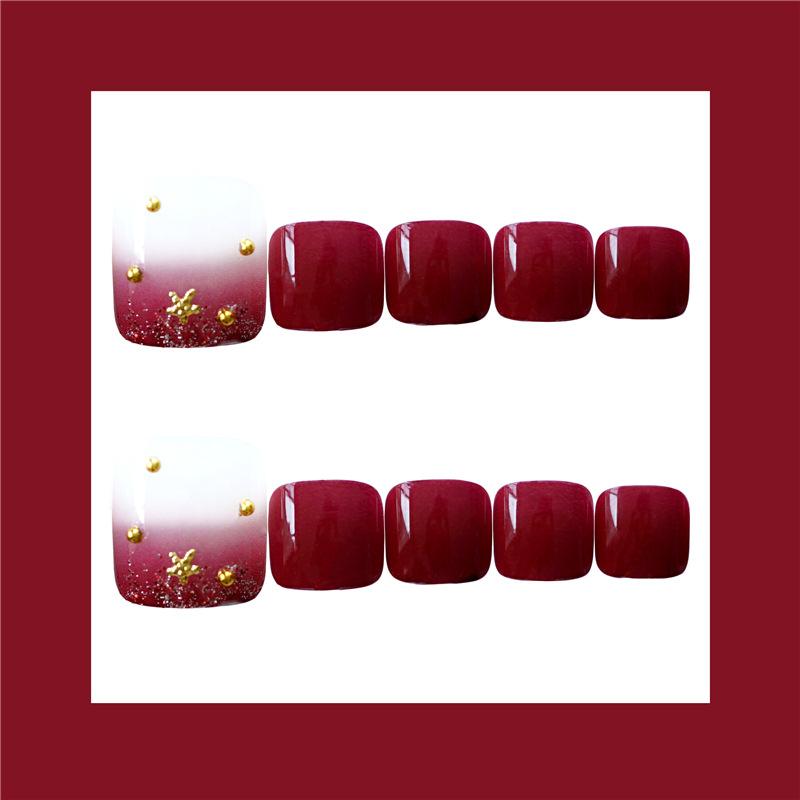 日式美甲成品红星月脚趾甲穿戴式金箔指甲贴片可拆卸假指甲成品