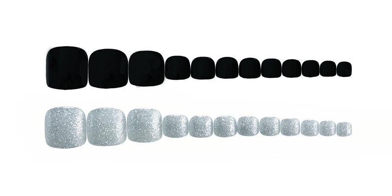 脚指甲贴片银色黑磨砂美甲欧美指甲片成品日系欧美风可拆卸贴片