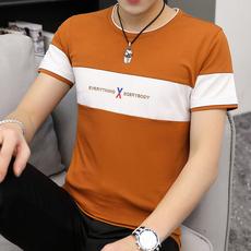 焦糖 大货现货2019夏男式T恤短袖圆领修身韩版青少年棉T恤8621#