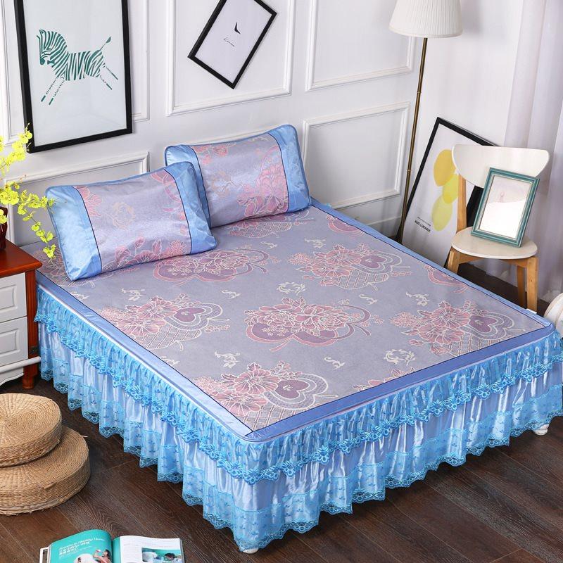 四月天凉席冰丝席三件套床裙款潮丹夏季可拆洗1.5m床1.8床2米床