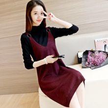 新款韩版潮背心针织连衣裙