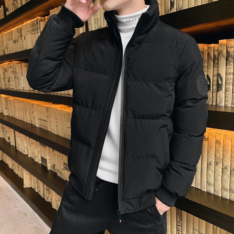 男士冬季黑色加厚棉衣胖子羽绒棉服保暖外套