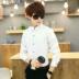 Mùa thu màu rắn nam dài tay áo Hàn Quốc kinh doanh bình thường chuyên nghiệp ăn mặc áo sơ mi trắng inch phù rể quần áo nam quần áo áo sơ mi hồng nam Áo