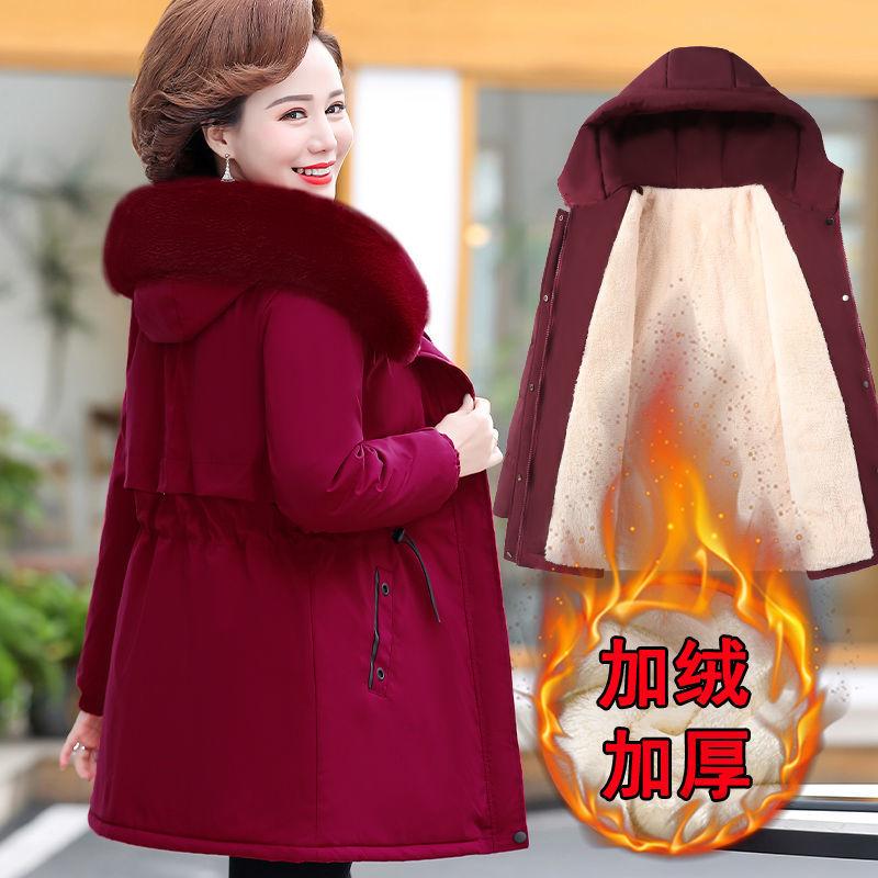 妈妈棉衣外�|套中长款加绒厚棉袄2021新款中老年女冬装洋气¤羽绒棉服