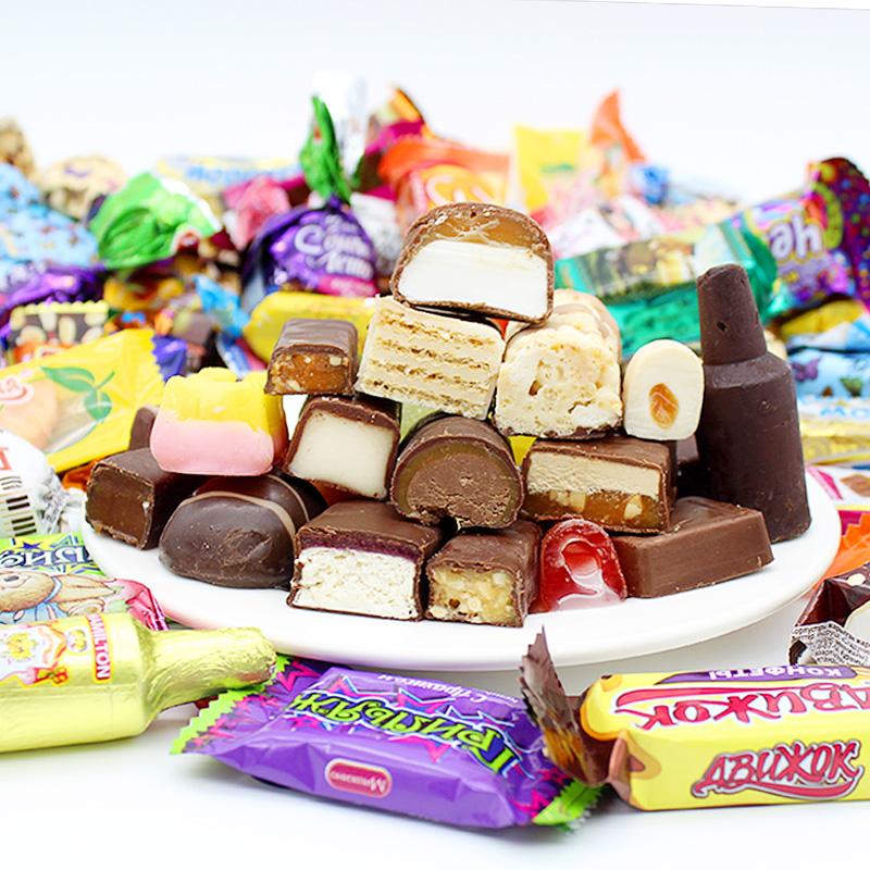 俄罗斯进口糖果巧克力多口味混合装紫皮糖大礼包年货喜糖散装包邮
