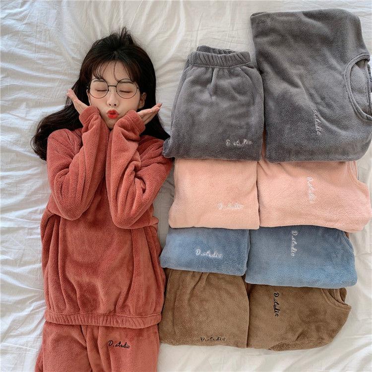 仙女暖暖裤套装女2020秋冬季加绒加厚居家休闲睡衣法兰珊瑚绒外穿