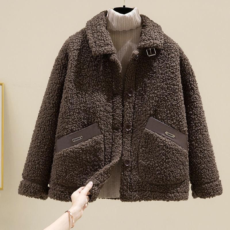羊羔毛绒皮毛一体外套女2020新款秋冬季韩版加厚颗粒绒小个子大衣