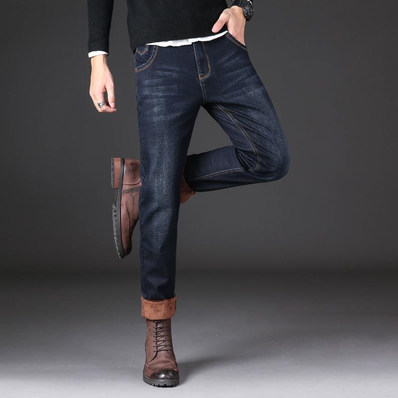 秋冬季加绒牛仔裤男加绒加厚保暖宽松直筒休闲裤弹力高腰冬季长裤