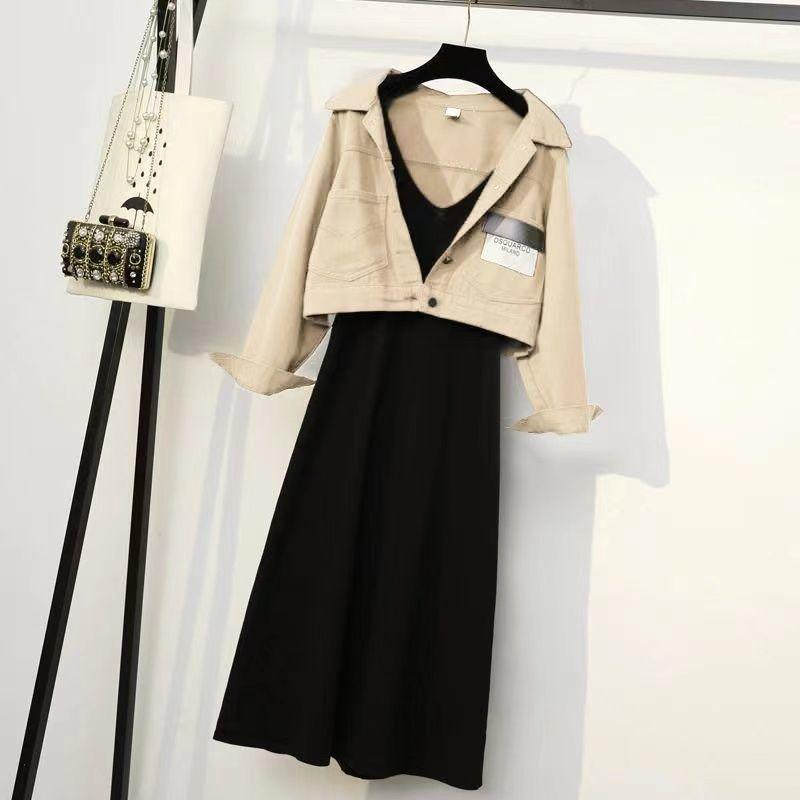 春季宽松显瘦时尚外套背心裙两件套女装