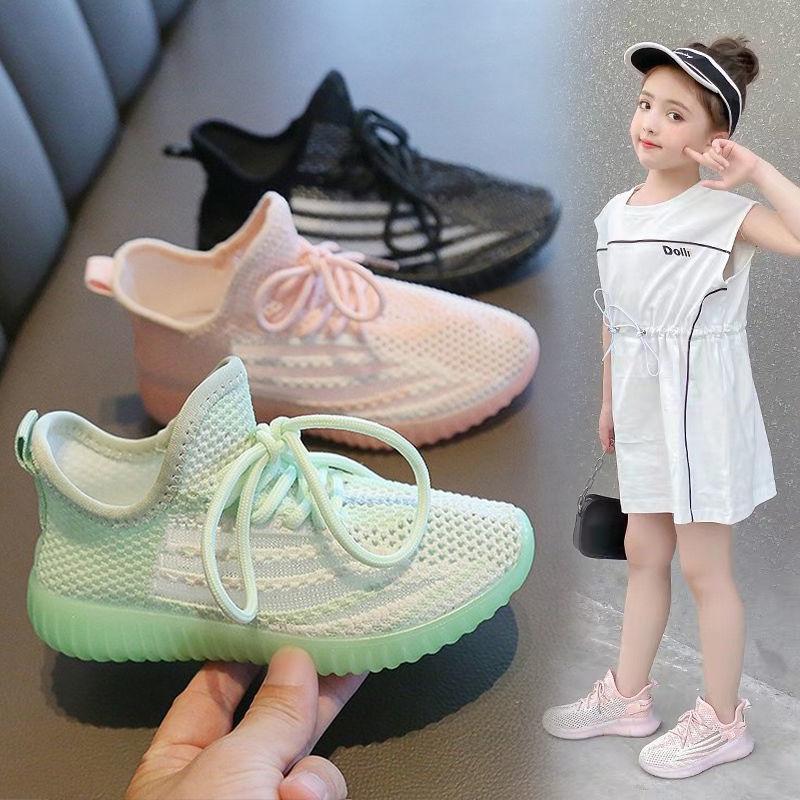 夏季飞织网面椰子鞋男女童透气运动鞋童鞋