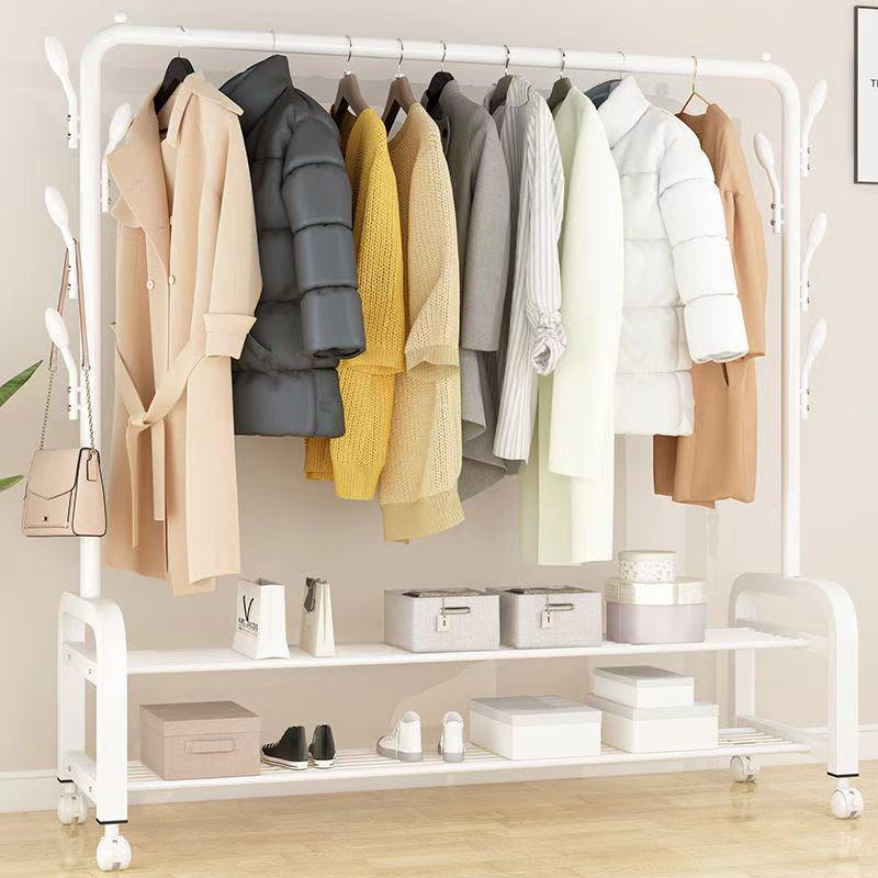 衣架落地卧室折叠晾衣架家用衣�帽架阳台挂衣架室内简易双杆晾衣杆々