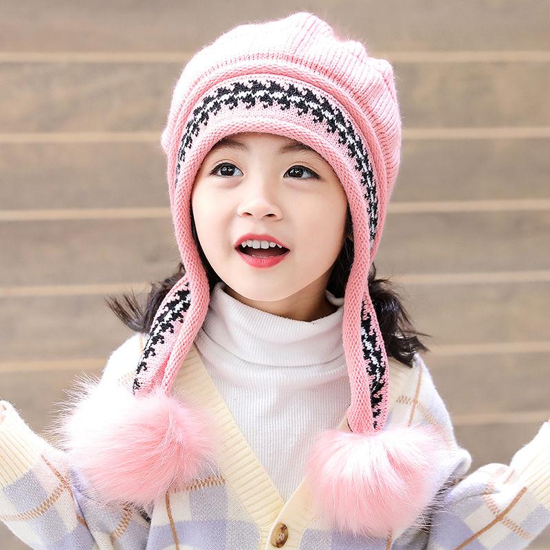 亲子款儿童帽子冬可爱女童公主帽秋冬季加绒保暖针织护耳帽毛线帽