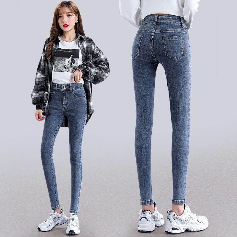 春夏牛仔裤女高腰显瘦百搭秋冬季铅笔裤韩版弹力长裤