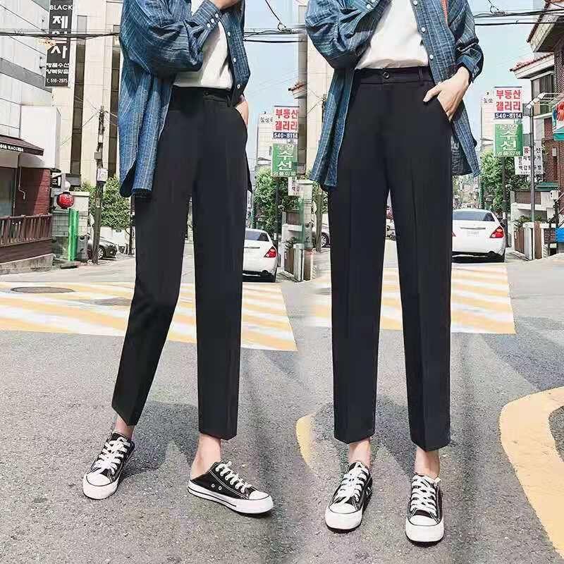 夏季雪纺西装裤显瘦直筒裤九分小脚裤子女
