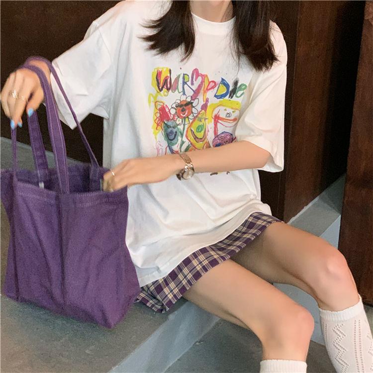 娜思/短袖T恤+格子短裙韩版宽松时尚两件