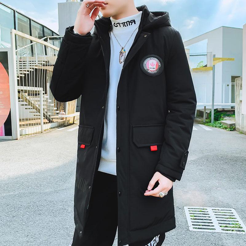 BEVK冬季款加厚中长款棉衣外套男装连帽中老年羽绒棉外套保暖棉衣