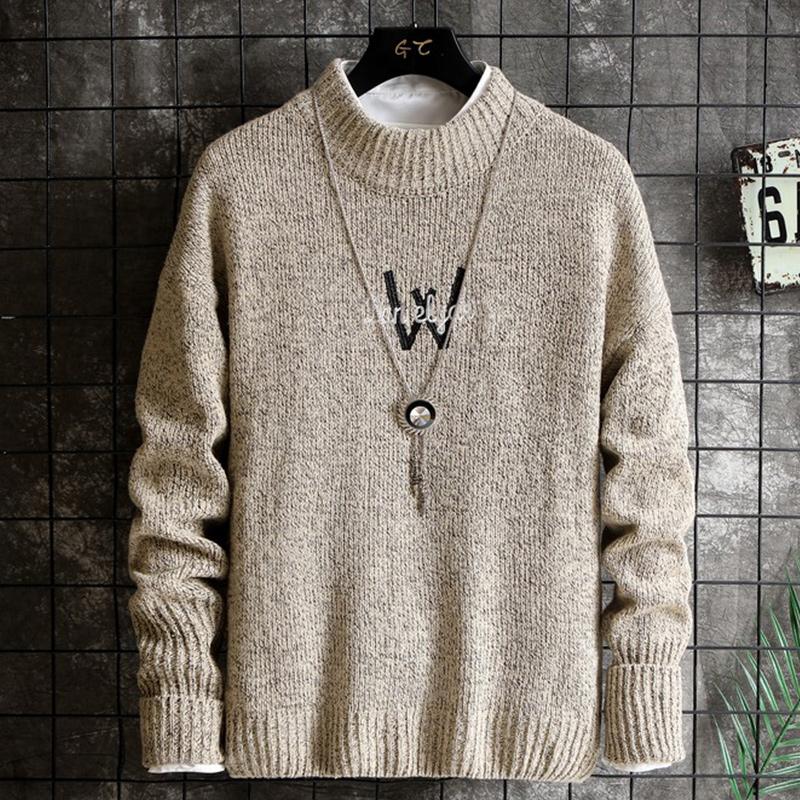 秋季新款男士加绒韩版圆领针织衫毛衣