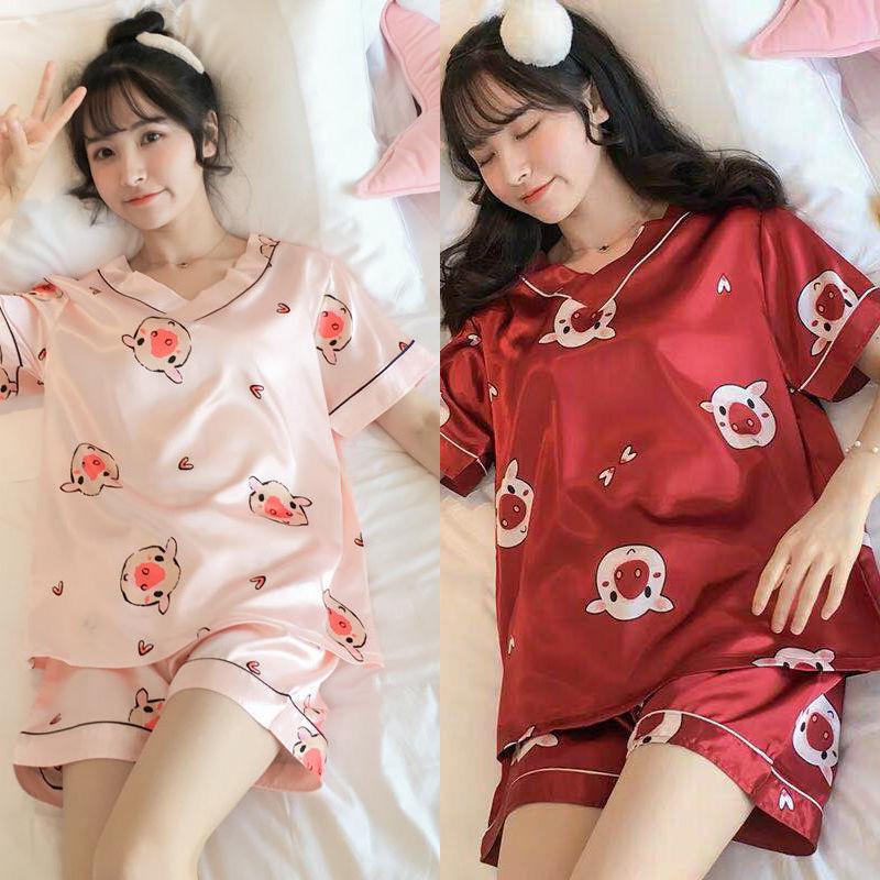 夏季女士冰丝睡衣两件套可爱卡通薄款家居服