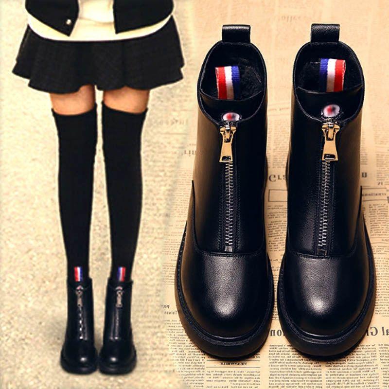 切尔西靴2020秋冬季英伦风前拉链女靴粗跟防滑短靴保暖中筒靴单靴