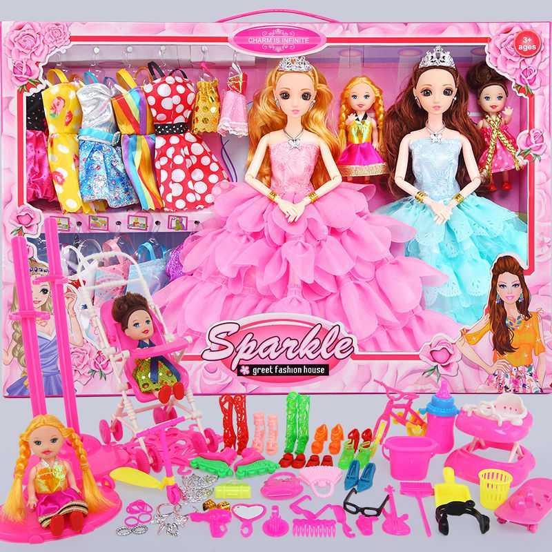 依甜芭比娃娃套装屋女孩子公主儿童玩具衣服裙子洋娃娃布生日礼物
