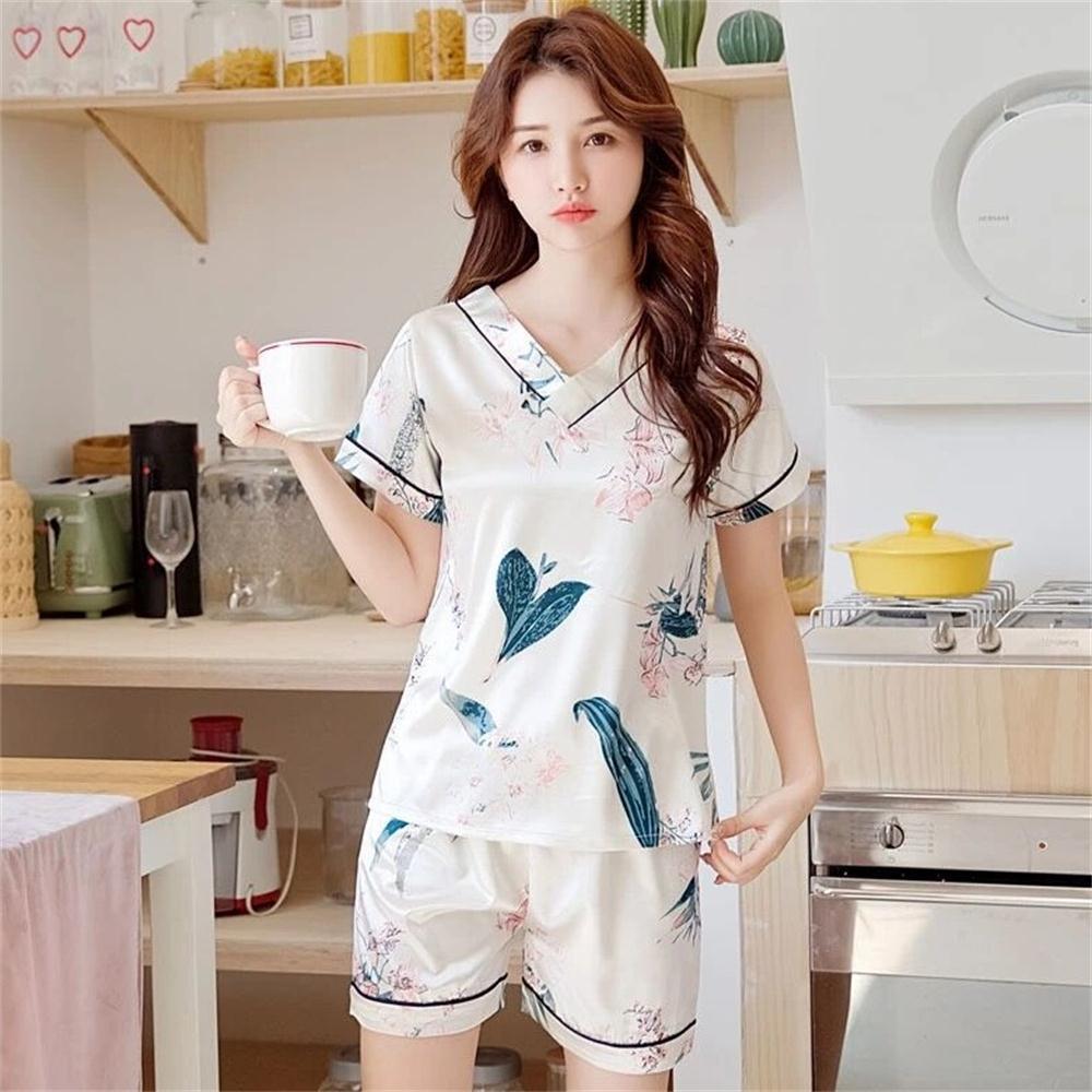 夏季睡衣女冰丝夏韩版清新V领薄款印花仿真丝绸套装可外穿家居服