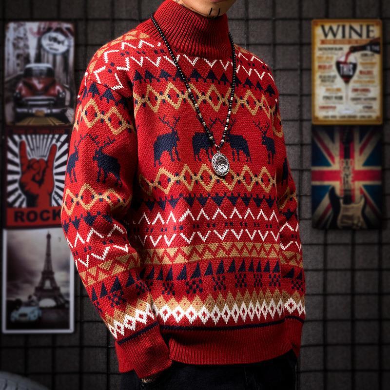 新款秋冬季红色麋鹿加厚情侣装修身半高领毛衣男士潮流个性针织衫
