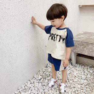 棉男童夏装套装男女宝宝夏季幼童小孩短裤短