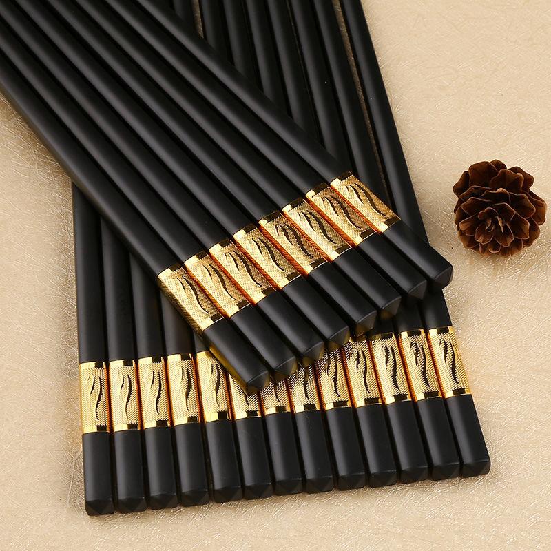 高档合金�筷子家用筷子防滑防发霉耐高温不变形10双装餐具3