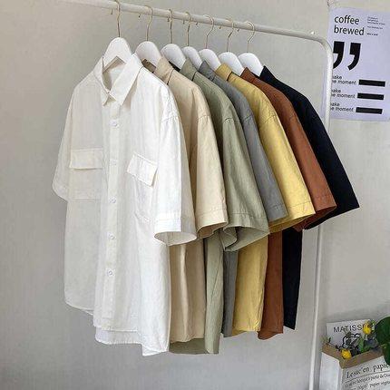 纯色短袖衬衫男宽松日系工装五分袖上衣券后28元(领100元券)